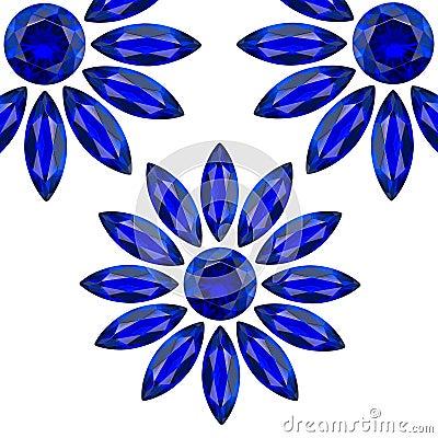 Flower blue gems