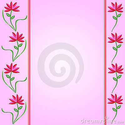 Flower Borders on Pink Gradient Background
