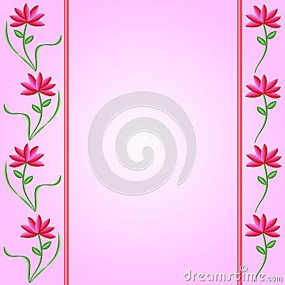Flower Borders on Pink Gradient Background