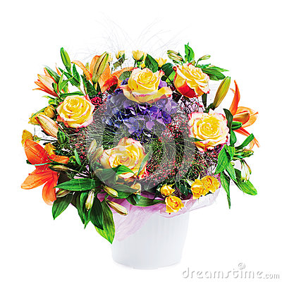 Flower bouquet arrangement centerpiece in vase isolated on white