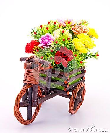 Free Flower Bouquet In Wooden Basket Stock Photos - 17518803