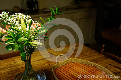 Flower bouquet on kitchen table