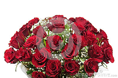 Flower bouquet from red roses isolated on white background.
