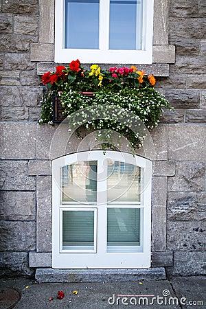 Flower box street scene of Old Quebec