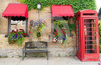 Flower boxes, Hanging Plants, Telephone booth