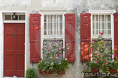 Flower boxes red shutters