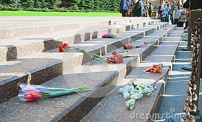 Flower buds by Unknown soldier tomb in Moscow Editorial Stock Photo
