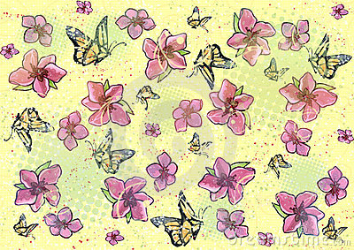 Flower & butterfly background - yellow