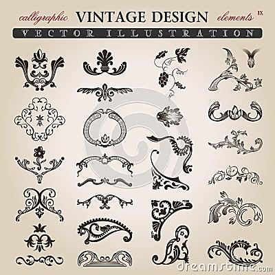Flower calligraphic vintage royal design elements