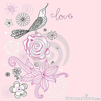 Flower card with love bird