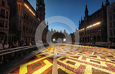 Flower carpet in Brussels, Belgium Editorial Stock Photo