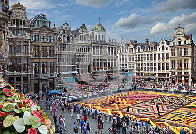 Flower Carpet in Grand Place of Brussels Editorial Photo