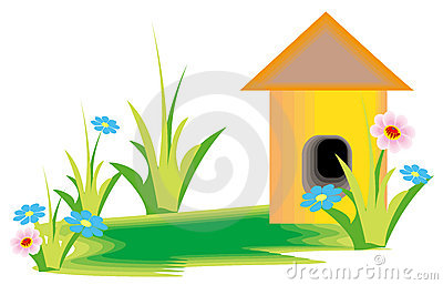 Flower and cartoon house