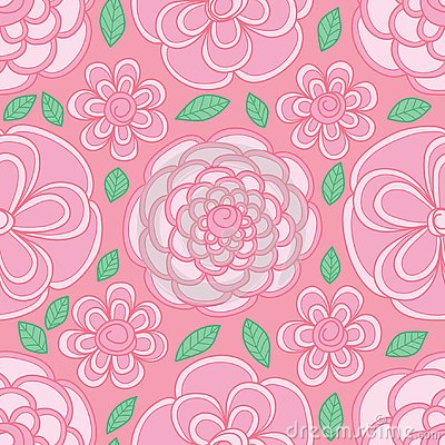 Flower circle shape visible pastel pink color seamless pattern Vector Illustration