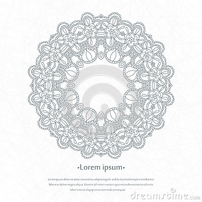 Free Flower Circular Background. A Stylized Drawing. Mandala. Stylized Lace Ornament. Indian Floral Ornament. Stock Photography - 80000682