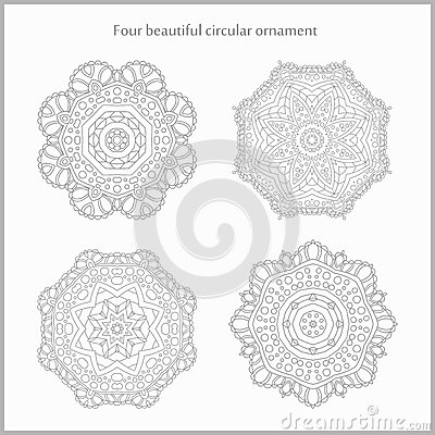 Flower circular background. A stylized drawing. Mandala. Stylized lace ornament. Indian floral ornament. Vector Illustration