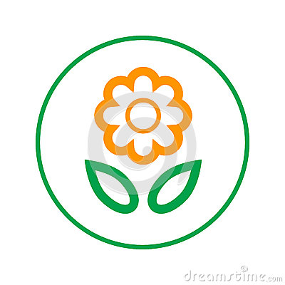 Free Flower Circular Line Icon. Round Sign. Flat Style Vector Symbol. Stock Image - 93091681