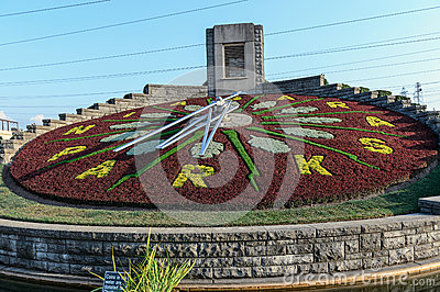Flower clock in Niagara Falls, Ontario Canada