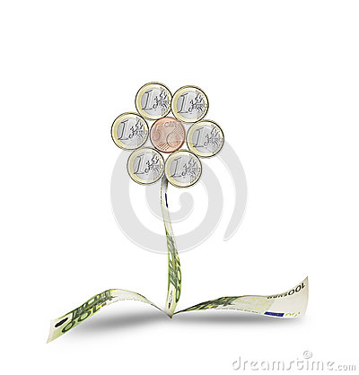 Flower of coins and euro banknotes
