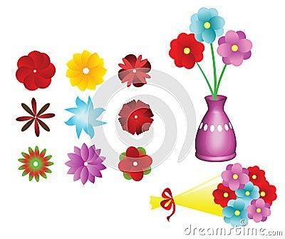 Flower collection set, flower bouquet, Vector