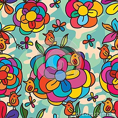 Free Flower Colorful Bird Stylish Seamless Pattern Stock Image - 66300291