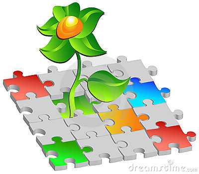 Flower with coloured puzzles