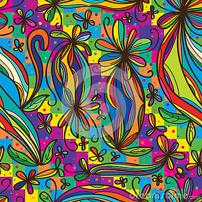 Free Flower Curl Draw Rainbow Colorful Seamless Pattern Royalty Free Stock Images - 55151129