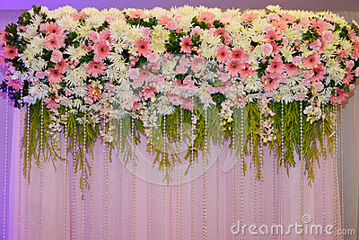 Flower decorate backdrop