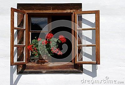 Flower decorated rural window