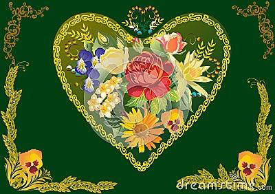 Flower decoration in gold heart shape frame