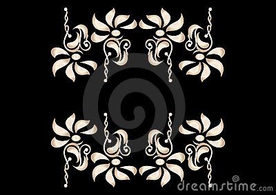 Flower decorative elements in contrast