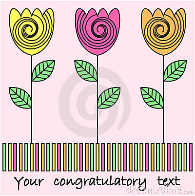 Flower design for greeting card