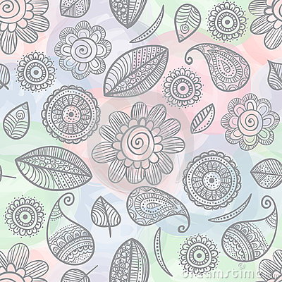 Flower Doodles Watercolor Seamless Pattern Royalty Free