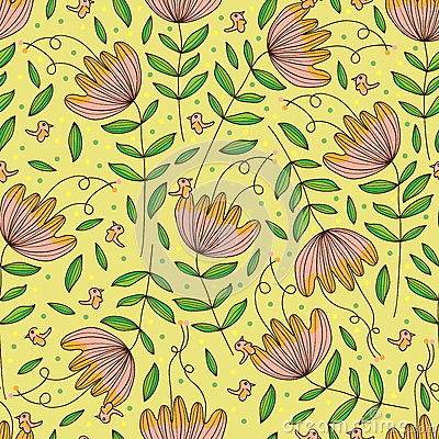 Free Flower Drawing Isolated Sense Seamless Pattern Stock Image - 51863791