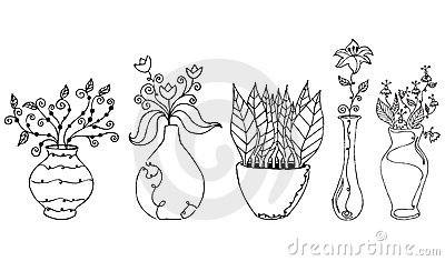 Flower drawings vector