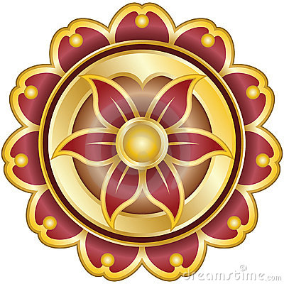 Flower Emblem with Pedals on Gold, Yoga