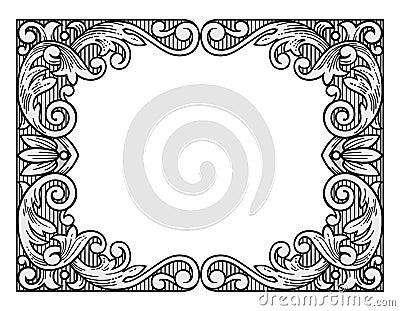 flower engraving frame