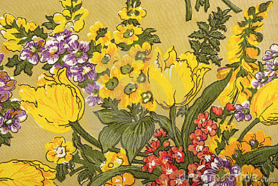Flower fabric texture, colored plants