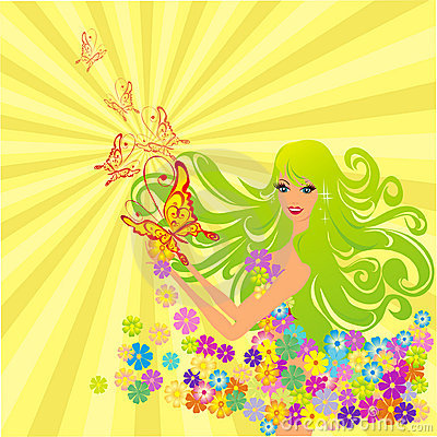 Flower fairy with butterflies. Vector illustration