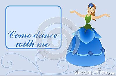 Flower Fairy on Card - Blue