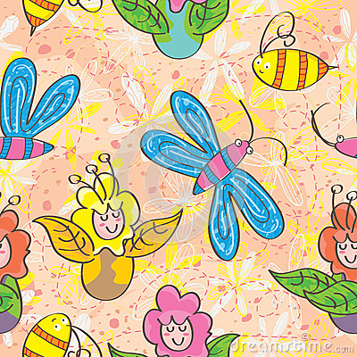 Flower Fairy Seamless Pattern_eps