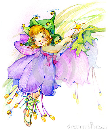 Free Flower Fairy. Watercolor Drawing Royalty Free Stock Photos - 55225298