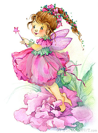 Free Flower Fairy. Watercolor Drawing Royalty Free Stock Image - 55226836