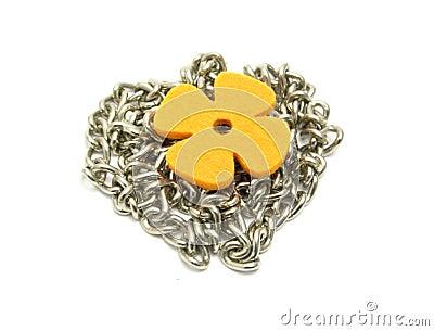 Flower of felt  on  a chain