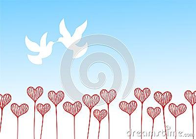 Flower field from hearts