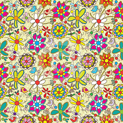 Free Flower Fill Colorful Seamless Pattern_eps Stock Photos - 24518303