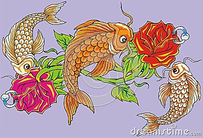 Flower fish tattoo