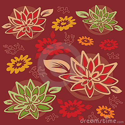 Flower and Foliage Pattern - Lotus Flower / Coral