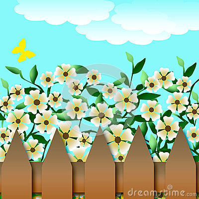 Flower garden and fence