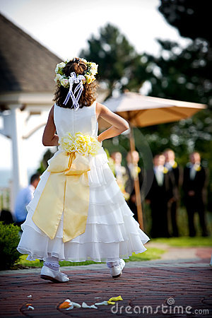 Free Flower Girl At A Wedding Stock Photography - 4526872